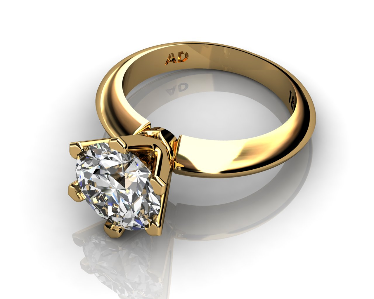 Yellow Gold Solitaire Enement Rings | Diamond Solitaire Engagement Ring Round Cut 2 50ct Diamond 6 Prongs