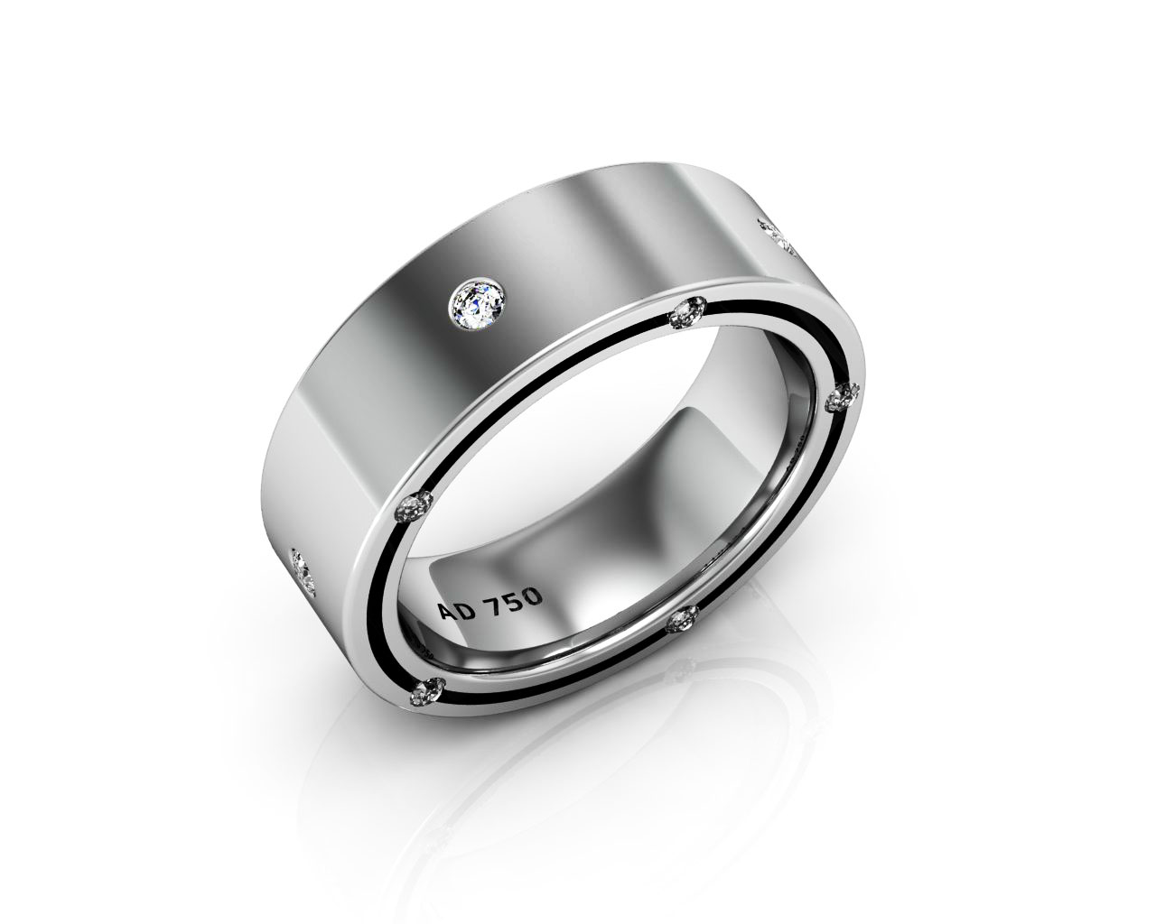 15 Stone Diamond White Gold Men S Wedding Bands