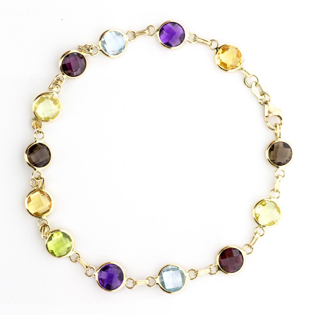Bracelet 14k Yellow Gold Multi Colored Gemstones By The Yard Sbg Jewelry Torrance